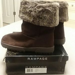 NWT and box Rampage Ashley Brown Suede Boots 10M